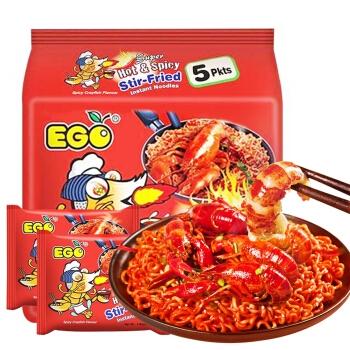马来西亚进口EGO火鸡面 方便面 速食泡面 超辣火鸡味拌面5连包 700g (140g*5包入)
